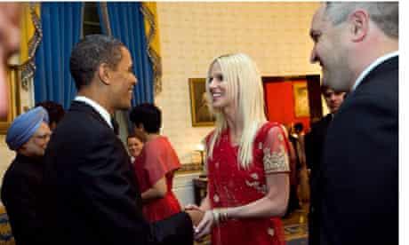 Michaele Salahi meets Barack Obama