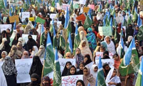 Members of the Islamic party Jamaat-i-Islami protest against the US in Lahore
