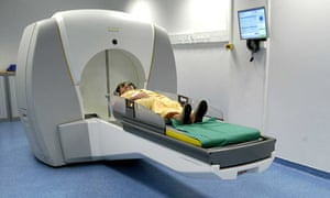 A patient prepares for Gamma Knife surgery
