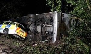The scene of a coach crash near Townshend in West Cornwall