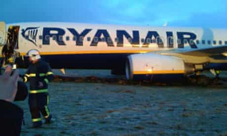 A passenger jet after sliding off the runway at Prestwick Airport, Glasgow