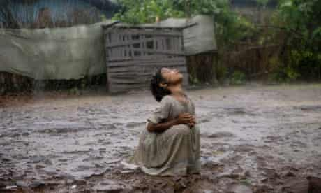 A young girl in the monsoon rains of Bhopal