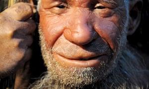 A model of an elderly Neanderthal man on display in the Neanderthal-Museum in Mettmann, Germany