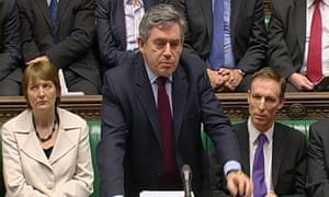 Gordon Brown speaks during prime minister's Questions in the House of Commons, London