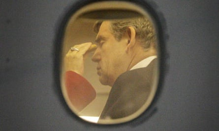 Gordon Brown has a make-up check as he arrives at Andrews Air Force Base in Maryland