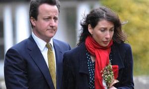 David Cameron and his wife Samantha arrive at St Nicholas Church in Chadlington
