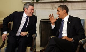 Gordon Brown meets Barack Obama in the Oval Office of the White House