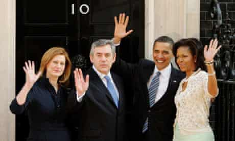 Gordon Brown and his wife Sarah greet Barack Obama and his wife Michelle at Downing Street
