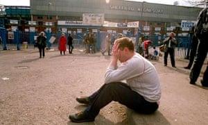 A fan in shock outisde Hillsborough stadium