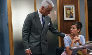 Mad Men:  John Slattery as Roger Sterling and Peyton List as Jane Siegel