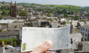 The Totnes pound and a view of the town