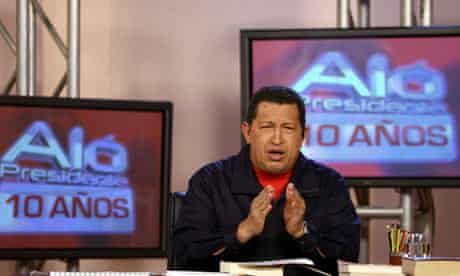 Hugo Chavez delivers a speech during his second broadcast of the day in Caracas