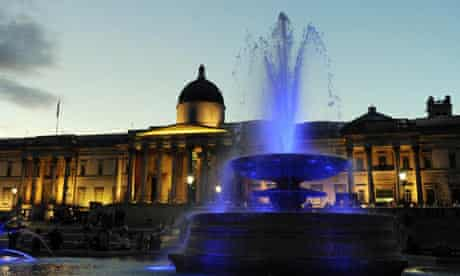 Brand new multi-coloured lights in Trafalgar Square fountains