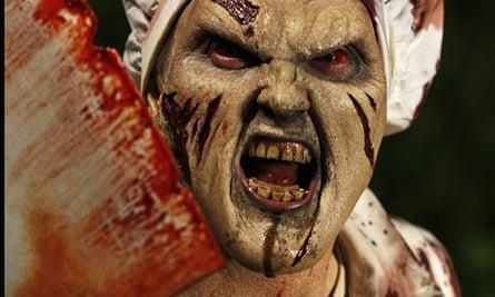 Film still from zombie horror film Doghouse