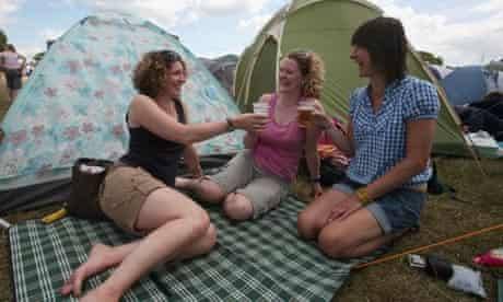 Campers at the Isle of Wight Festival, Newport