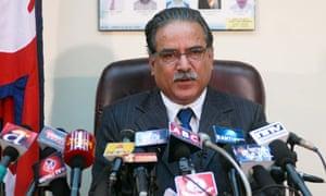 Nepalese prime minister Pushpa Kamal Dahal annnounces his resignation in Kathmandu