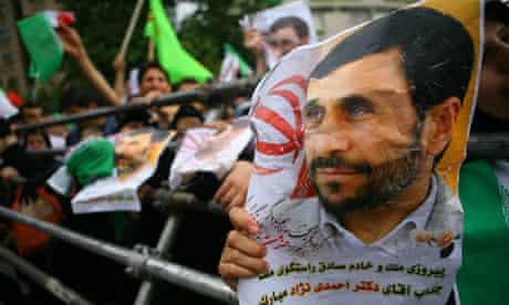 Supporters of Mahmoud Ahmadinejad at a rally in Tehran