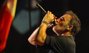 Bruce Springsteen performs on the main Pyramid Stage at the Glastonbury Festival