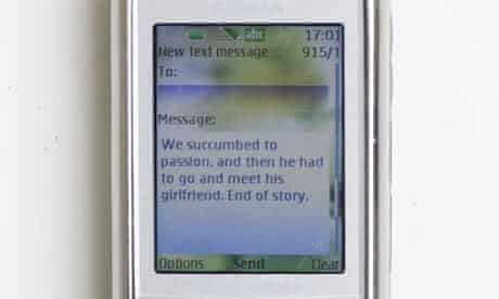 Mobile phone with text message
