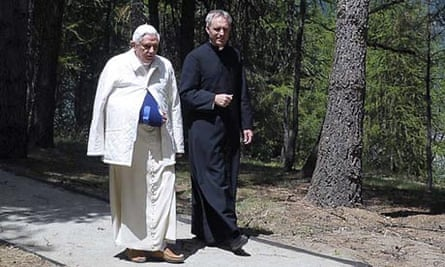 Pope Benedict XVI with his personal aide Rev. Georg Gaenswein