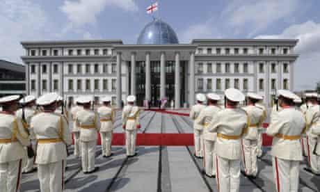 Joe Biden and Mikhail Saakashvili uring a welcome ceremony in the Georgian capital Tbilisi
