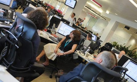 The news desk at the Guardian