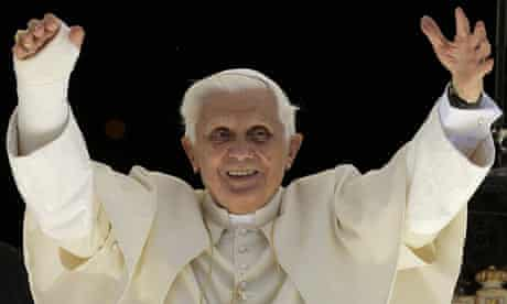 Pope Benedict XVI greets the crowd during his Angelus prayers in Romano Canavese