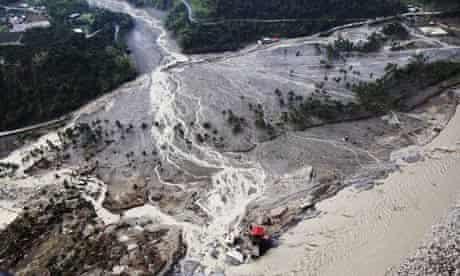 A mudslide in Kaohsiung County, Taiwan, following typhoon Morakot