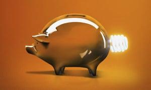 Green Money - Piggy bank with light bulb tail