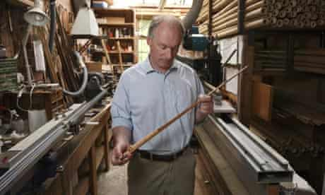 Edward Barder makes traditional split cane fishing rods at his workshop in Newbury, Berkshire