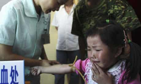 China: A child's blood sample taken to examine lead levels in her body