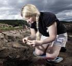 A volunteer archaeologist at the Vindolanda Trust in Northumberland