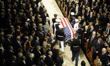 enator Edward Kennedy's casket arrives at Our Lady of Perpetual Help Catholic Church