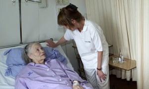 nurse, patient in swedish hospital