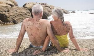 Elderly people on a beach