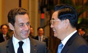 Nicolas Sarkozy meets Chinese president Hu Jintao