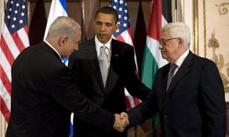 Barack Obama, Benjamin Netanyahu and Mahmoud Abbas