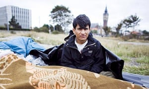 Wazir Moussazay from Kabul, Afghanistan, who is sleeping on wasteland in Calais, France