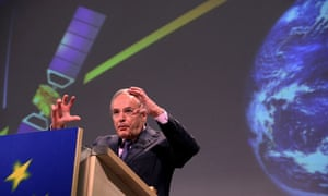 EU Commissioner Jacques Barrot gestures during a press conference on Galileo satellite project