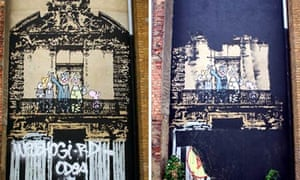 Before and after pictures of a Banksy artwork in Stoke Newington, London