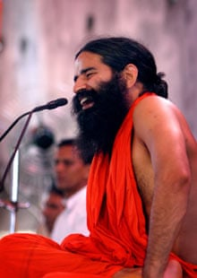 Baba Ramdev, a yoga master, at his Institute in Haridwar, India