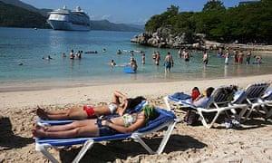 Royal Caribbean customers relax on Labadee beach