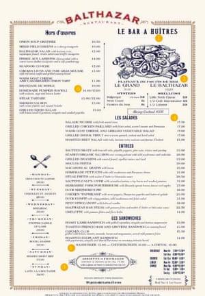 A menu for New York reataurant Balthazar