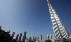 The skyline of Dubai shows the Burj Dubai Tower, the tallest tower in the world