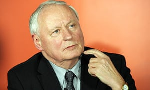 Oskar Lafontaine speaks during a press conference  in Berlin
