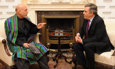 Gordon Brown meets President Hamid Karzai at 10 Downing Street