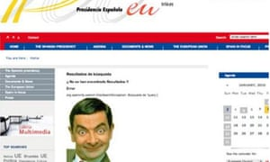A picture of Mr Bean on a Spanish government website.
