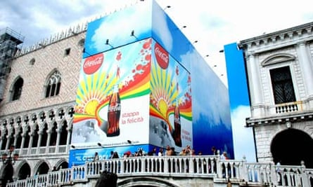 A Coca-Cola hoarding over part of the Palazzo Ducale angered conservationists this summer.
