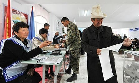 Voters at a polling station in the village of Koy-Tash, during the Kyrgyzstan election.