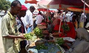 A qat stall at a market in Mogadishu